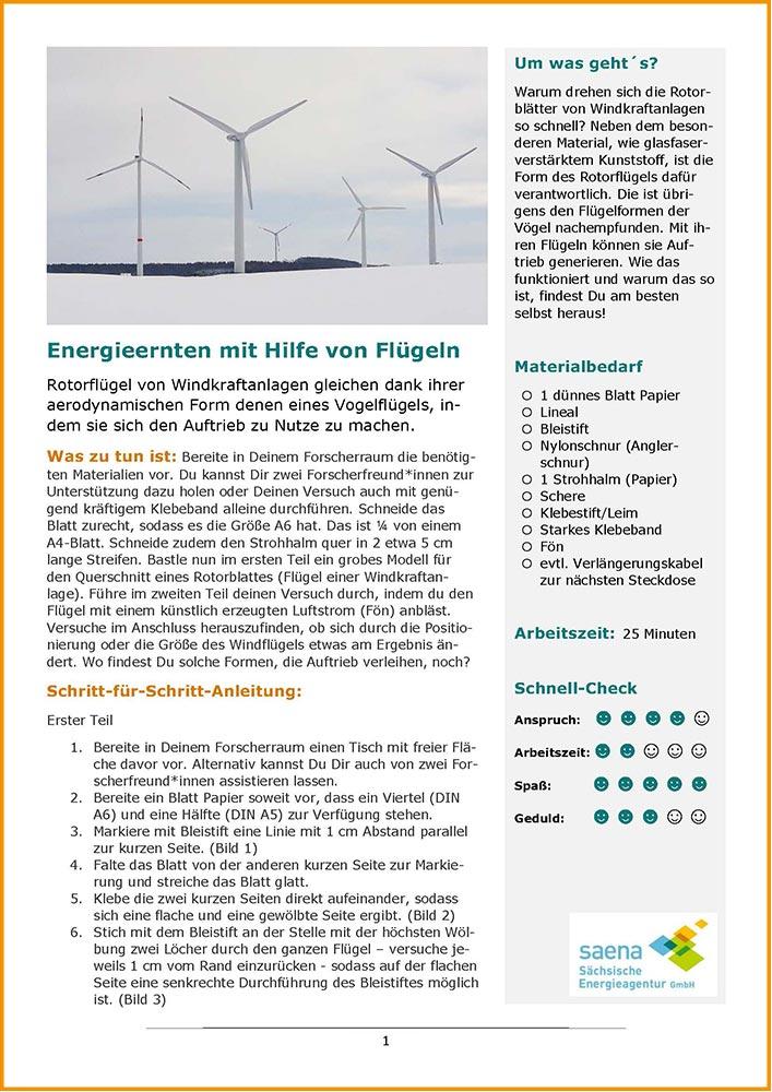 """Bild von PDF von Forscherauftrag """"Energieernten mit Hilfe von Flügeln"""""""