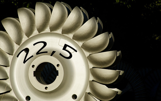 Peltonturbine mit Zahl 22,5