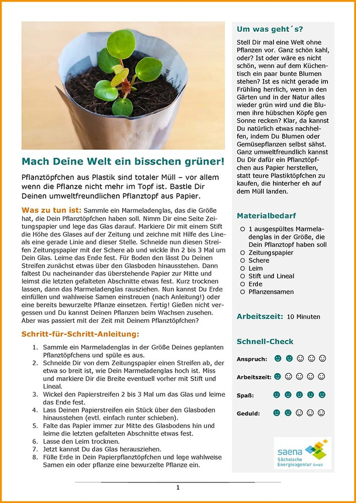 """Bild der PDF von Forscherauftrag """"Blumentopf aus Papier"""""""