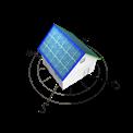 Grafik von Haus mit Solarzellen, nach Nordost und Südwest ausgerichtet