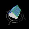 Grafik von Haus mit Solarzellen, nach Ost und West ausgerichtet