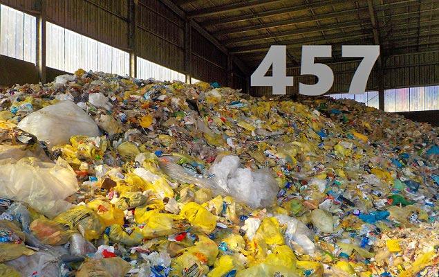 Mülldeponie aus gelben Säcken und Zahl 457