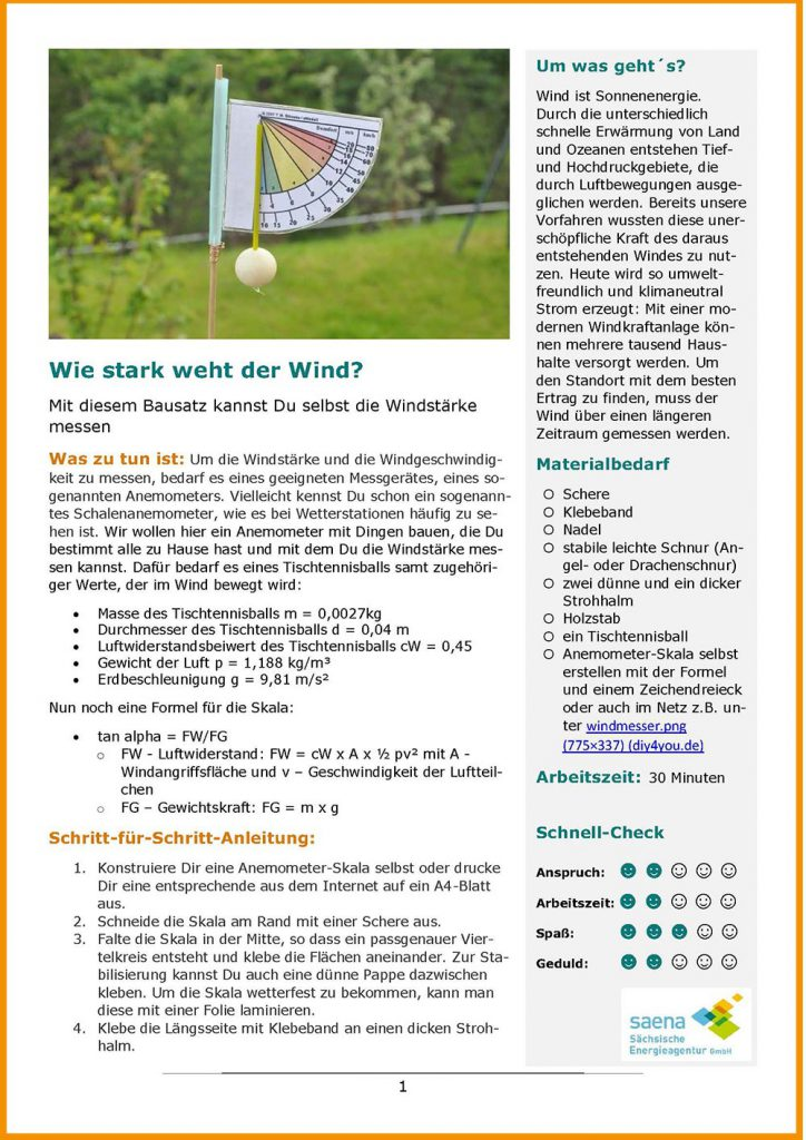 Bauanleitung Windstärkemesser: Arbeitsblatt