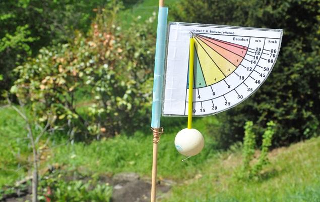 Bauanleitung Windstärkemesser: im Garten aufstellen