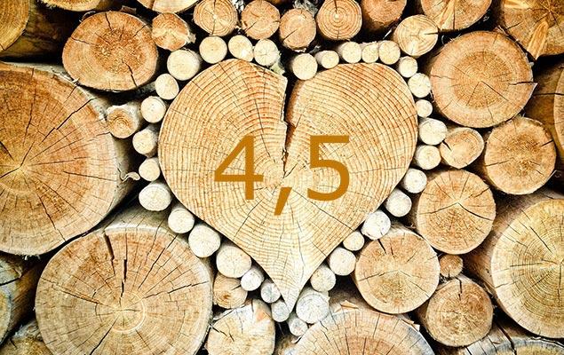 Holzstapel mit einem Holzstück in Herzform