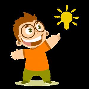 gezeichneter Junge mit Sonne, die als Glühbirne dargestellt ist