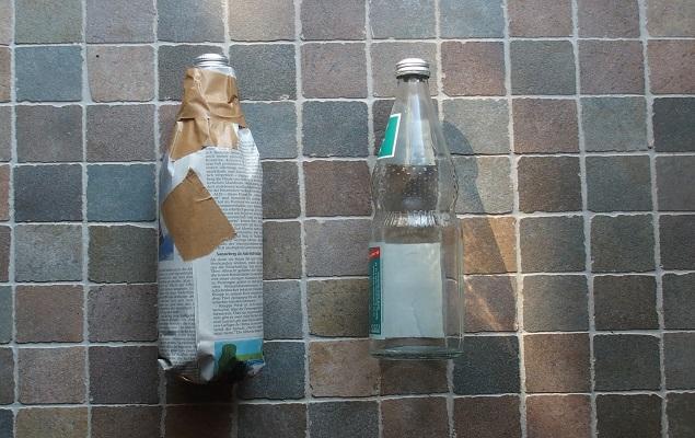 """Forscheraufgabe """"Wärmefalle"""": fertig eingerollte Flaschen"""