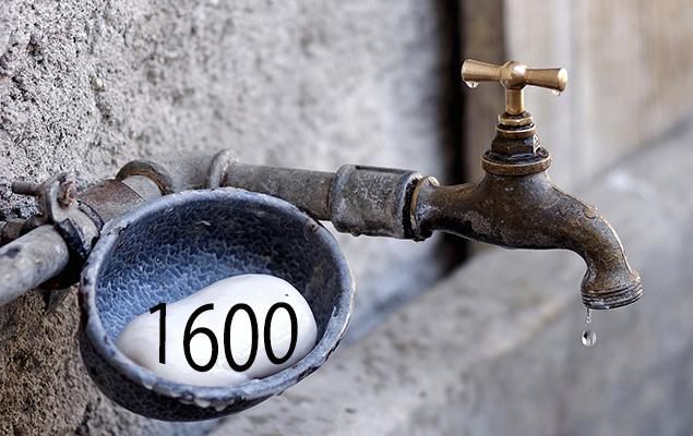 Tropfender Wasserhahn und Zahl 1600