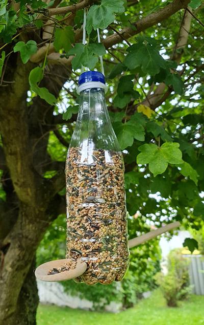 Vogelfutterstation aus PET-Flasche